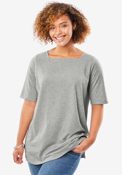 Perfect square neck tee shirt, HEATHER GREY, hi-res