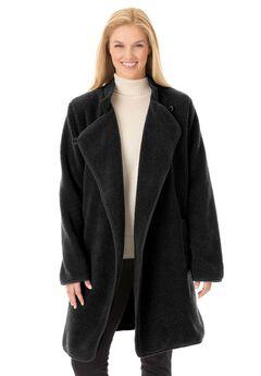 Rib Knit Collar Berber Jacket, BLACK, hi-res