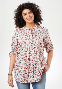 Perfect Pintuck Shirt, PINK SORBET WAVY FLORAL
