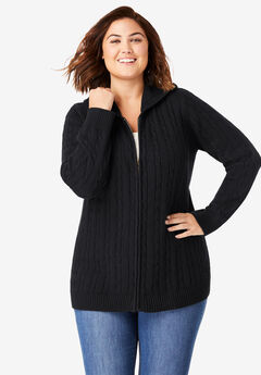 Cable Knit Zip-Front Cardigan,
