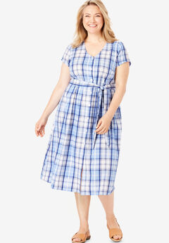 Short Sleeve Seersucker Button-Front Dress,