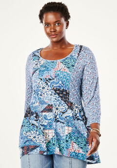 Mixed Print Babydoll Tunic by Chelsea Studio®, BLUE MULTI PAISLEY PATCHWORK
