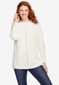Pullover Mock Neck Cabled Sweater, IVORY