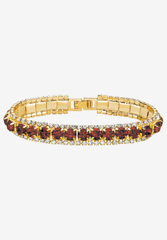 """Gold Tone Tennis Bracelet (10mm), Round Birthstones and Crystal, 7"""" by PalmBeach Jewelry,"""