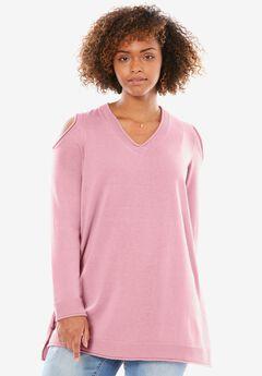 Fine-Gauge Cold-Shoulder Sweater,