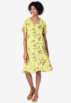 Short Crinkle Dress, PRIMROSE YELLOW LEAF