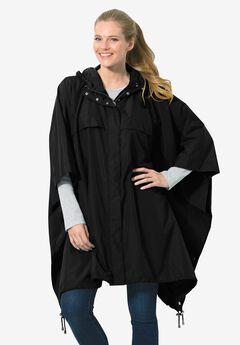Packable water-resistant rain cape with zip top bag, BLACK, hi-res