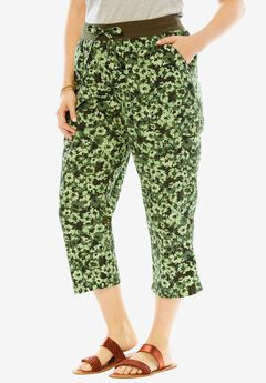 Convertible-Length Cotton Cargo Capri Pants, FLOWER CAMO, hi-res