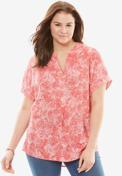 Flowy gauze blouse, CORAL RED TROPICAL LEAF, hi-res