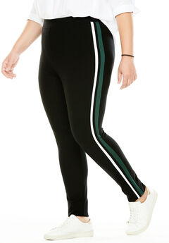 Side-Stripe Ponte Legging, BLACK WHITE FOREST GREEN, hi-res