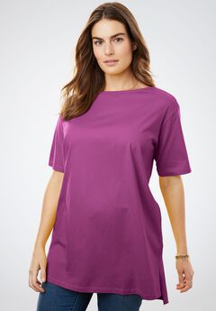 Boat Neck Elbow-Length Sleeve Perfect Tunic, MAGENTA BERRY