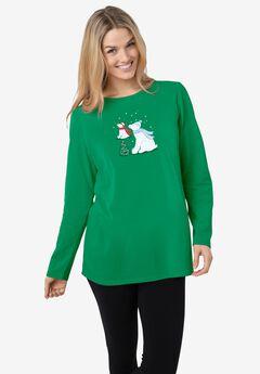 Holiday Graphic Tee, KELLY GREEN POLAR BEARS