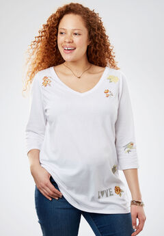 Three-Quarter Sleeve Graphic Tee, WHITE MULTI EMBROIDERY, hi-res