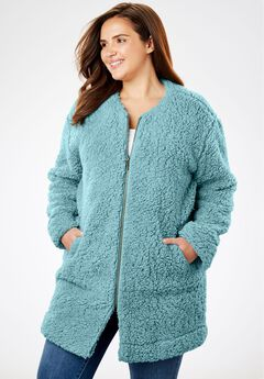 Fluffy Fleece Long Coat, DUSTY TEAL, hi-res