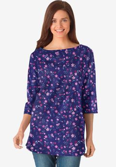 Perfect Printed Three-Quarter Sleeve Boat-Neck Tee, NAVY PRETTY FLORAL