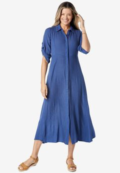 Crinkle Shirtdress,