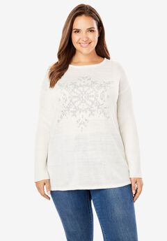 Holiday Pullover Sweater, IVORY SNOWFLAKE