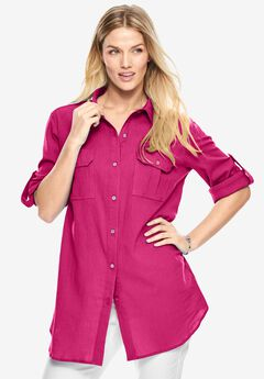 Cotton gauze shirt, PASSION PINK, hi-res