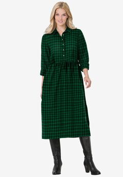 Plaid flannel A-line shirtdress, EMERALD PLAID