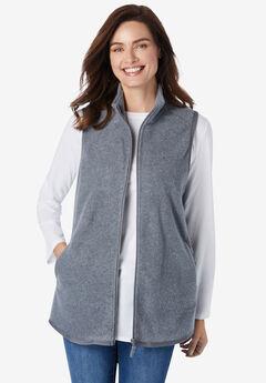 Zip-Front Microfleece Vest, MEDIUM HEATHER GREY