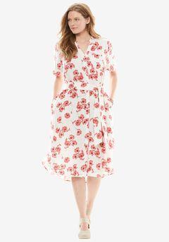 Split-Neck Linen Shirtdress with Belt, CORAL RED FLORAL, hi-res
