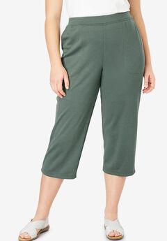 Ponte Knit Pocket Capri Pant,