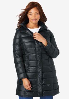 Packable long puffer jacket, BLACK, hi-res