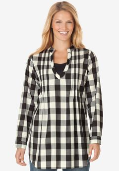 Plaid layered-look tunic shirt with long sleeves, inset, front pleats,