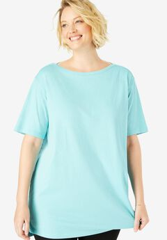Perfect Boat Neck Tunic with Elbow-Length Sleeves,