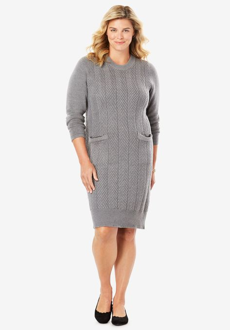 Chevron Stitch Sweater Dress| Plus Size Short Dresses | Woman Within