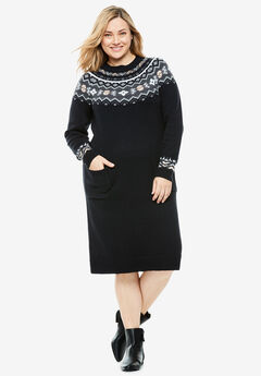 Fair Isle Knit Sweaterdress,