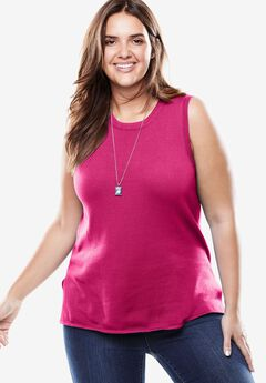 Fine gauge sleeveless crewneck sweater, PASSION PINK, hi-res
