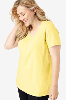 Perfect V-Neck Tee, YELLOW CREAM