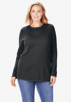 Thermal Sweatshirt, BLACK