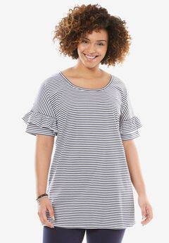 Ruffle Sleeve Tunic with Slits,