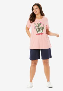 2-Piece Knit Tee and Short Set, SOFT PINK CACTUS