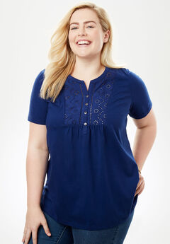 Top in soft knit with eyelet embroidery, EVENING BLUE, hi-res
