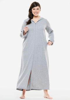 Long Fleece Hooded Robe by Dreams & Co.®, HEATHER GREY, hi-res