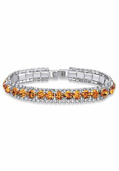 """Silver Tone Tennis Bracelet Simulated Birthstones and Crystal, 7"""","""