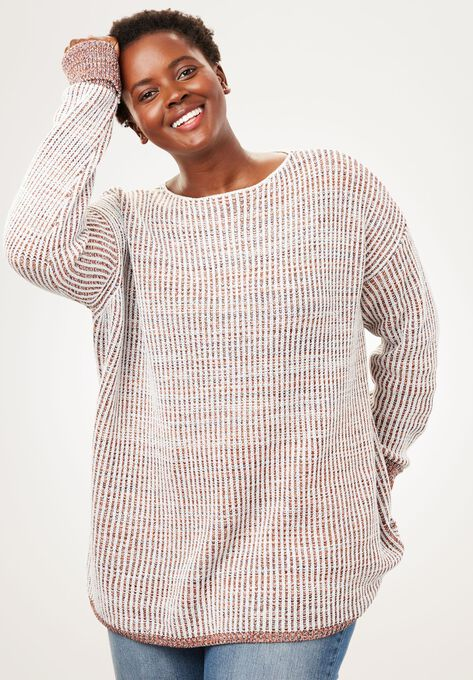 Multi Chunky Knit Sweater Plus Size Sweaters Woman Within