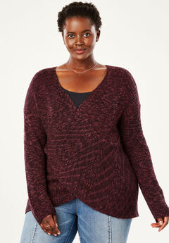 Crossover Front Sweater by Chelsea Studio®, MAUVE WINE BLACK MARLED, hi-res