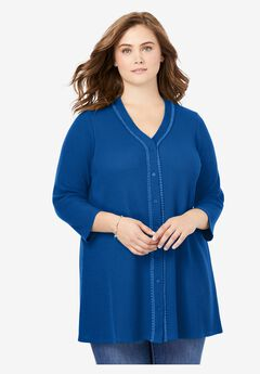 Button-Front Thermal Tunic, DEEP COBALT