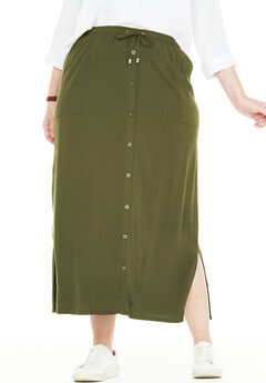 Button-Front Utility Maxi Skirt, DARK BASIL, hi-res