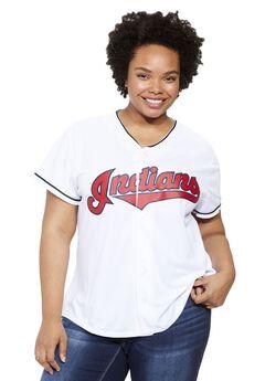 MLB® V-neck jersey tee , INDIANS, hi-res