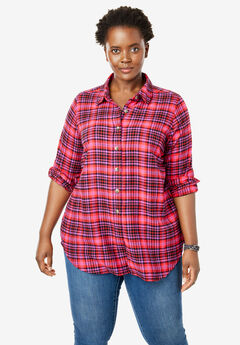 Classic Flannel Shirt, BERRY PLAID