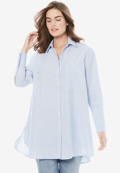 Wide Cuff Shirt by Chelsea Studio®, BLUE WHITE STRIPE, hi-res