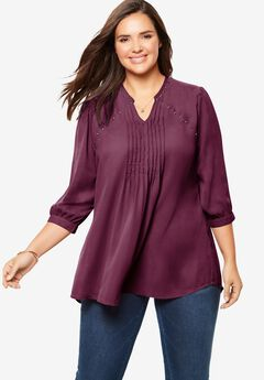 Studded Pintucked Blouse,