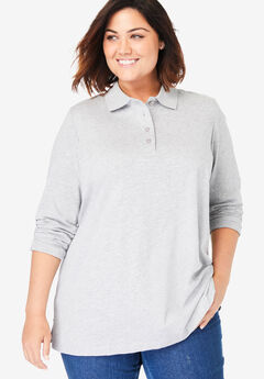 Long-Sleeve Tunic Polo Shirt, HEATHER GREY