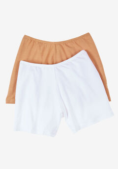 2-Pack Cotton Fitted Boxer Boyshort by Comfort Choice®, WHITE NUDE PACK