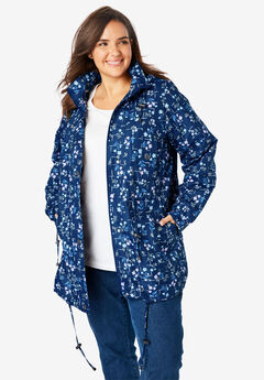 Weather-Resistant Taslon® Anorak, EVENING BLUE GRID FLORAL